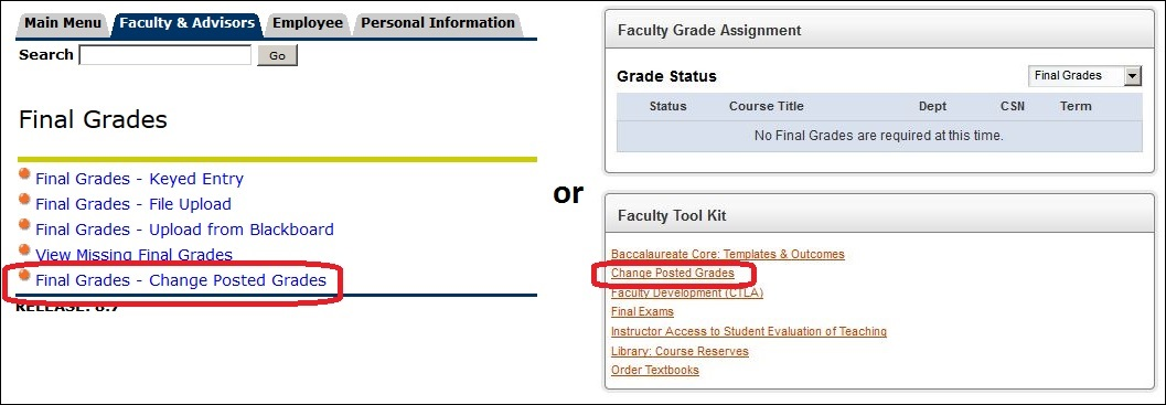 Screen shot of Final Grades - Change Posted Grades
