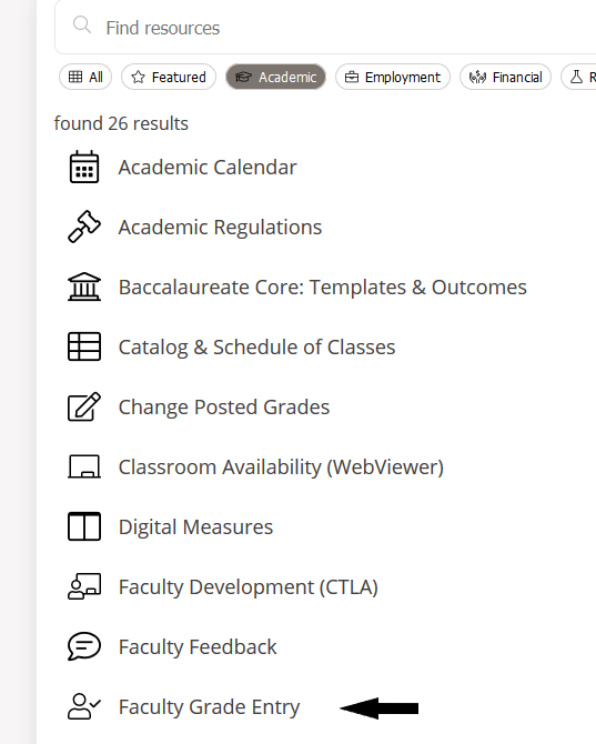 faculty grade entry in academic resources