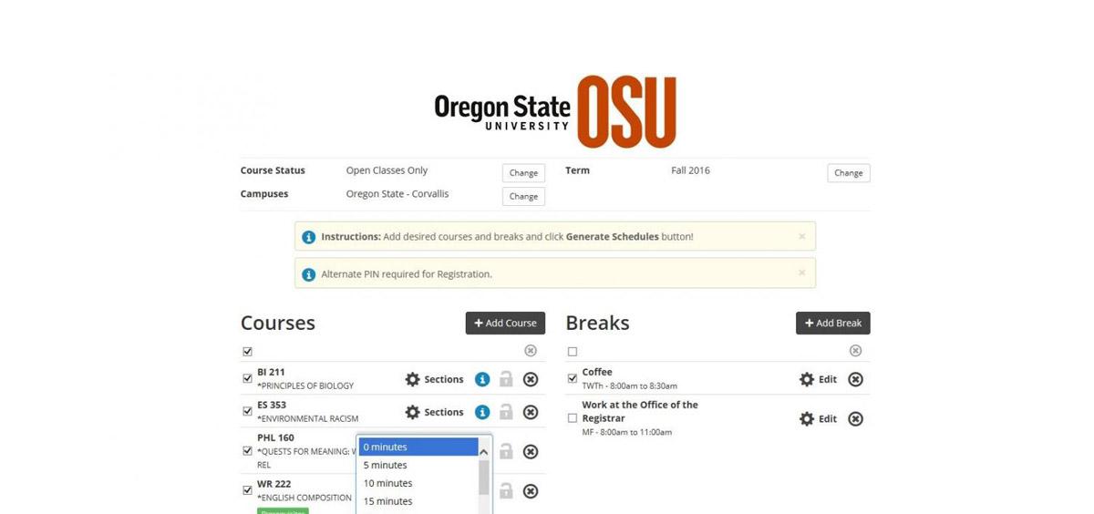 screenshot of new scheduler tool