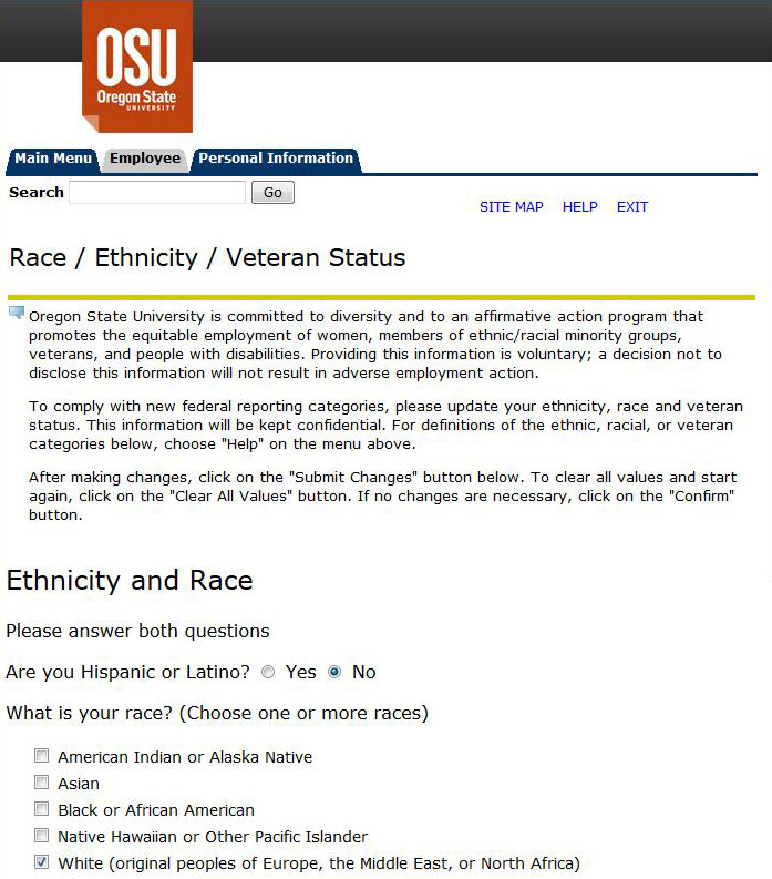 Race, Ethnicity, Veteran Status screen shot